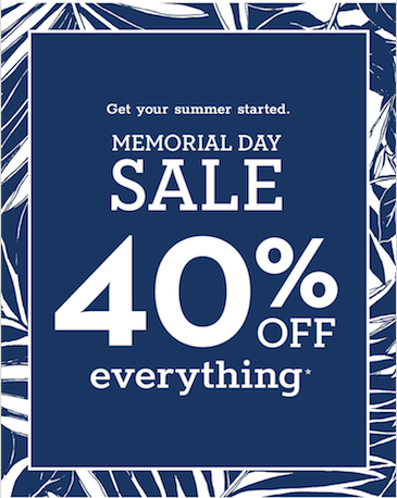 Memorial Day Sale 40% off Everything*