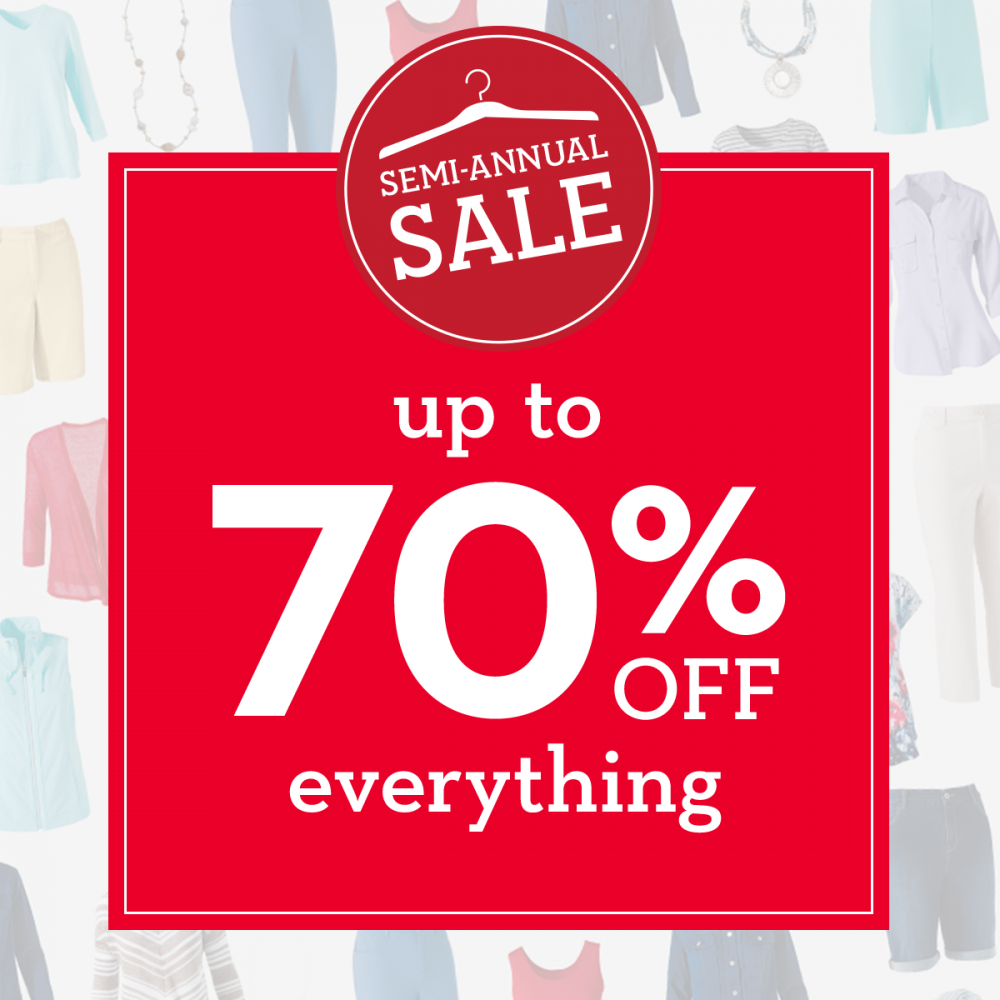 Semi-Annual Sale up to 70% off Entire Store*