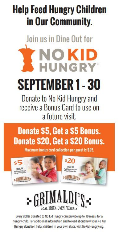 Annual Dine Out for No Kid Hungry fundraiser