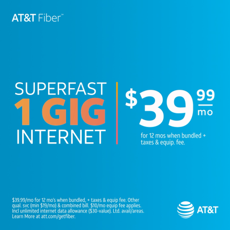Contract free Fiber for as low as $39.99