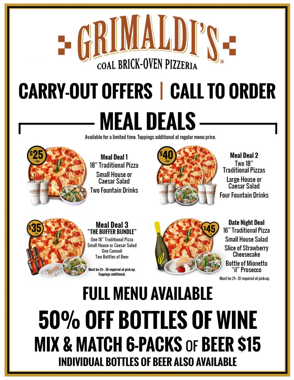 Meal Deals (Carry Out and Phone Orders Only)